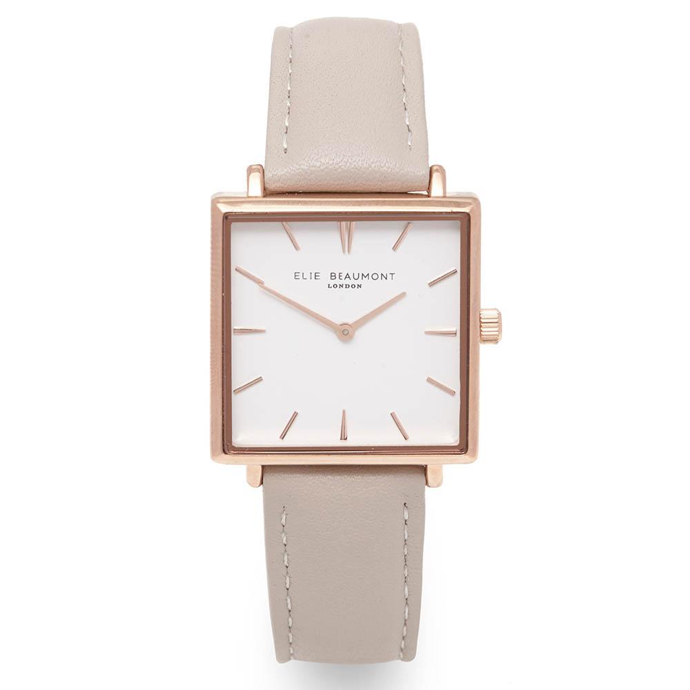 Elie Beaumont 英國時尚手錶 BAYSWATER系列 白錶盤x玫瑰金錶框x褐色皮革錶帶28mm
