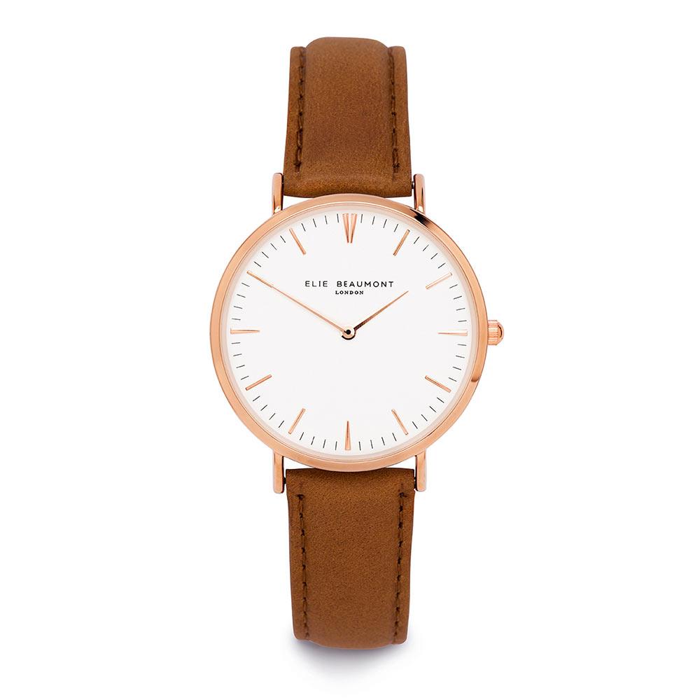 Elie Beaumont 英國時尚手錶 牛津系列 白錶盤x棕色皮革錶帶x玫瑰金錶框38mm