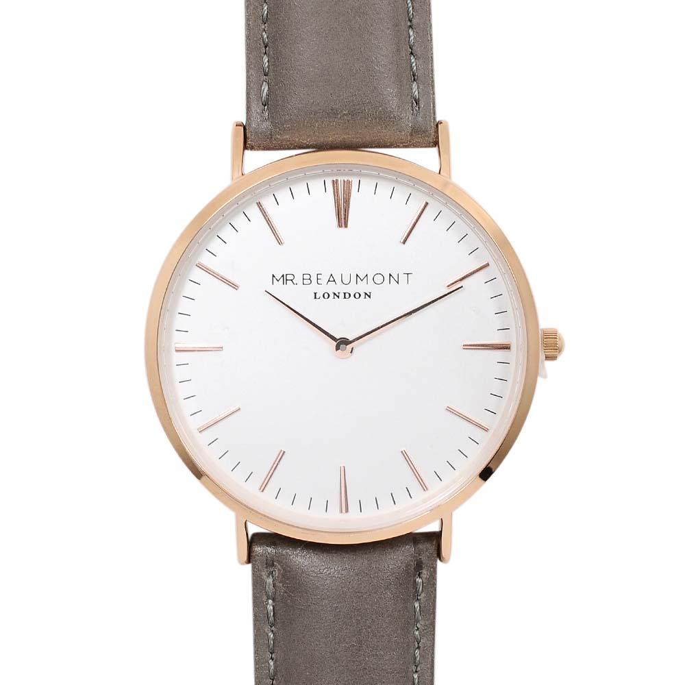Elie Beaumont 英國時尚手錶 牛津系列 白錶盤x灰色皮革錶帶x玫瑰金錶框41mm
