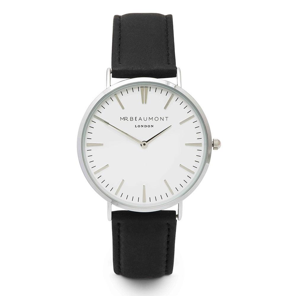 Elie Beaumont|英國時尚手錶 牛津系列 白錶盤x黑色皮革錶帶x銀錶框41mm