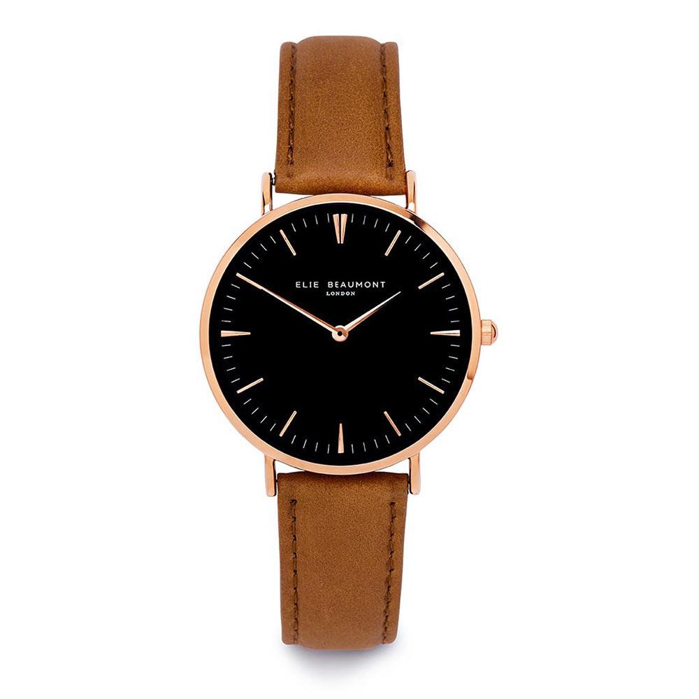 Elie Beaumont|英國時尚手錶 牛津系列 黑錶盤x棕色錶帶x玫瑰金錶框38mm