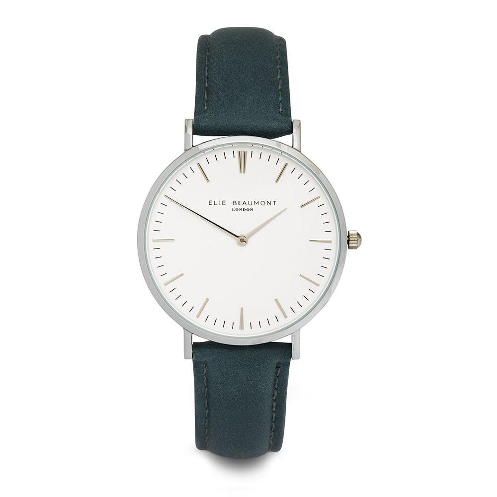 Elie Beaumont 英國時尚手錶 牛津系列 白錶盤x牛津藍錶帶x銀錶框38mm