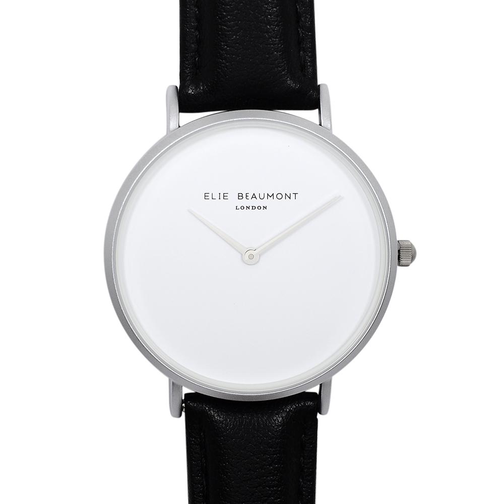 Elie Beaumont|英國時尚手錶 HOXTON極簡系列 白錶盤x黑錶帶x銀錶框38mm