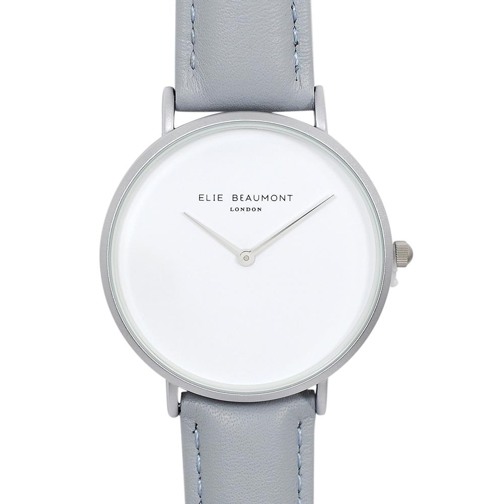 Elie Beaumont|英國時尚手錶 HOXTON系列 白錶盤x亮灰色錶帶x銀錶框38mm