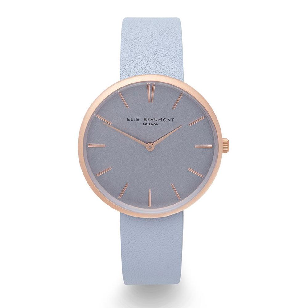 Elie Beaumont|英國時尚手錶HAMPSTEAD系列 淺藍x磨砂玫瑰金框38mm