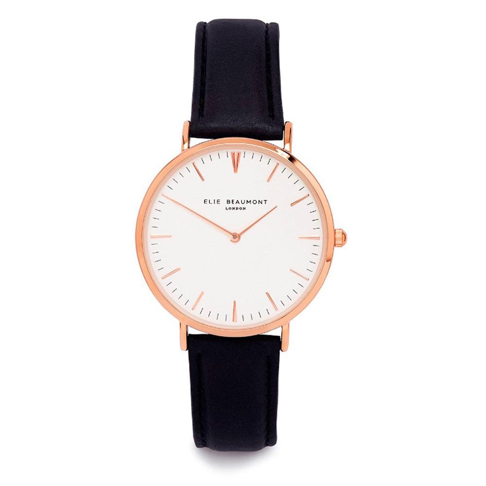 Elie Beaumont|英國時尚手錶 牛津系列 白錶盤x黑色皮革錶帶x玫瑰金錶框33mm