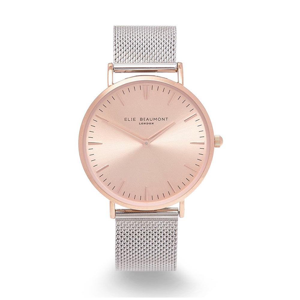 Elie Beaumont|英國時尚手錶 牛津米蘭錶帶系列 玫瑰金錶盤錶框x銀色錶帶38mm