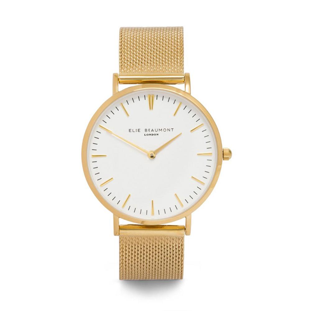 Elie Beaumont|英國時尚手錶 牛津米蘭錶帶系列 白錶盤x金色錶帶錶框38mm