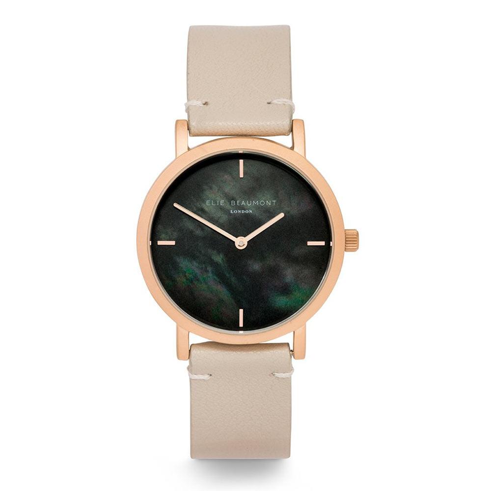 Elie Beaumont|英國時尚手錶 KENSINGTON珍珠母貝系列 褐色X玫瑰金36mm