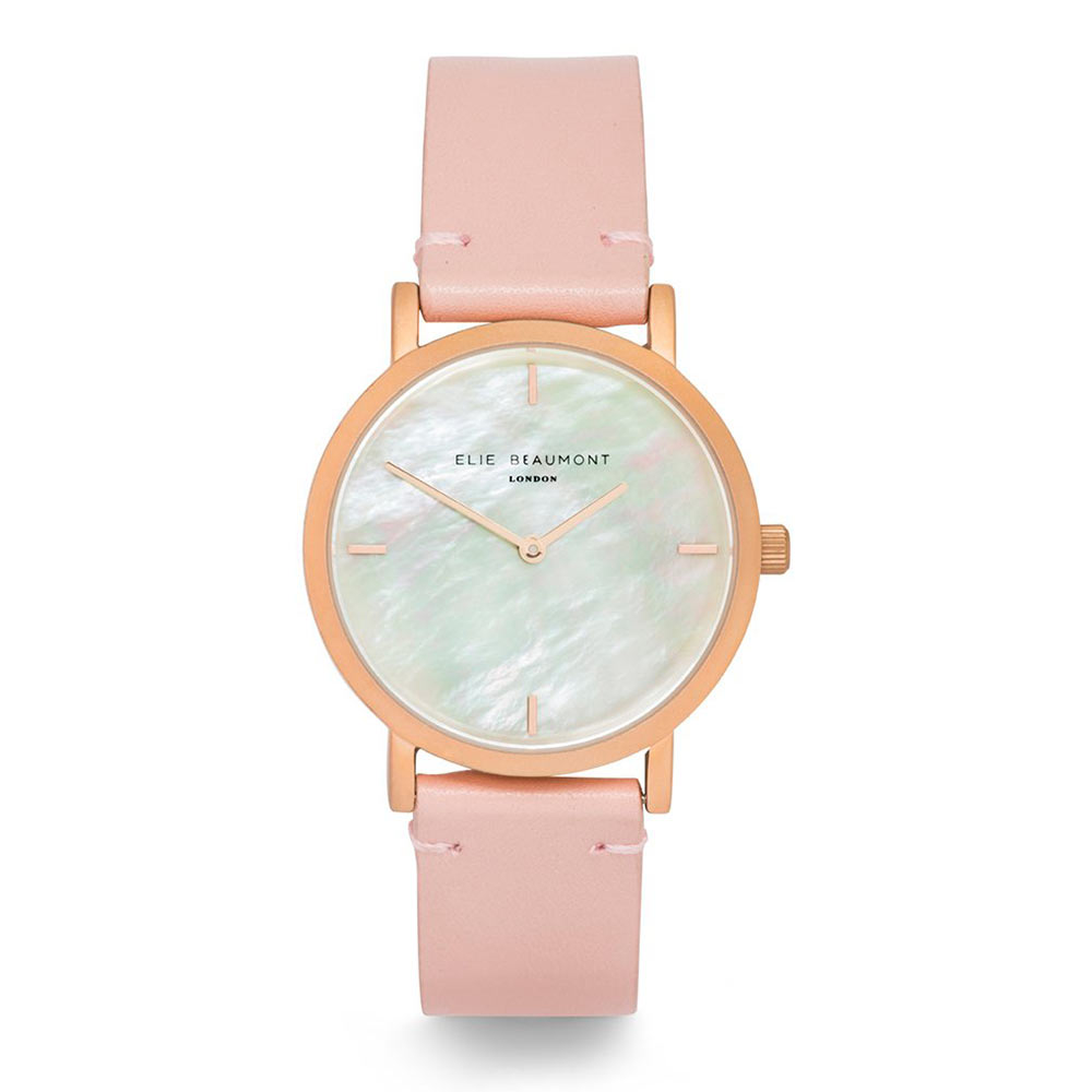 Elie Beaumont|英國時尚手錶 KENSINGTON珍珠母貝系列 嫩粉X玫瑰金36mm