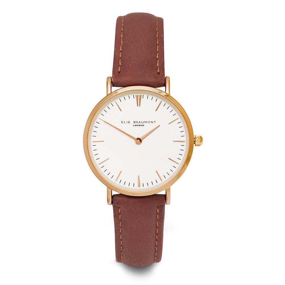 Elie Beaumont|英國時尚手錶 牛津系列 白x暗玫紅錶帶x玫瑰金框33mm