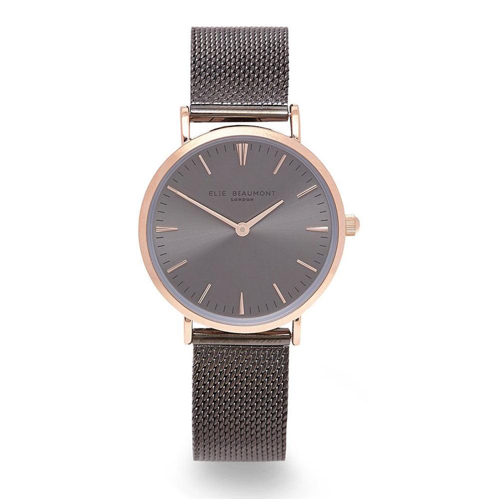 Elie Beaumont|英國時尚手錶 牛津米蘭錶帶系列 深灰色錶盤錶帶x玫瑰金錶框33mm