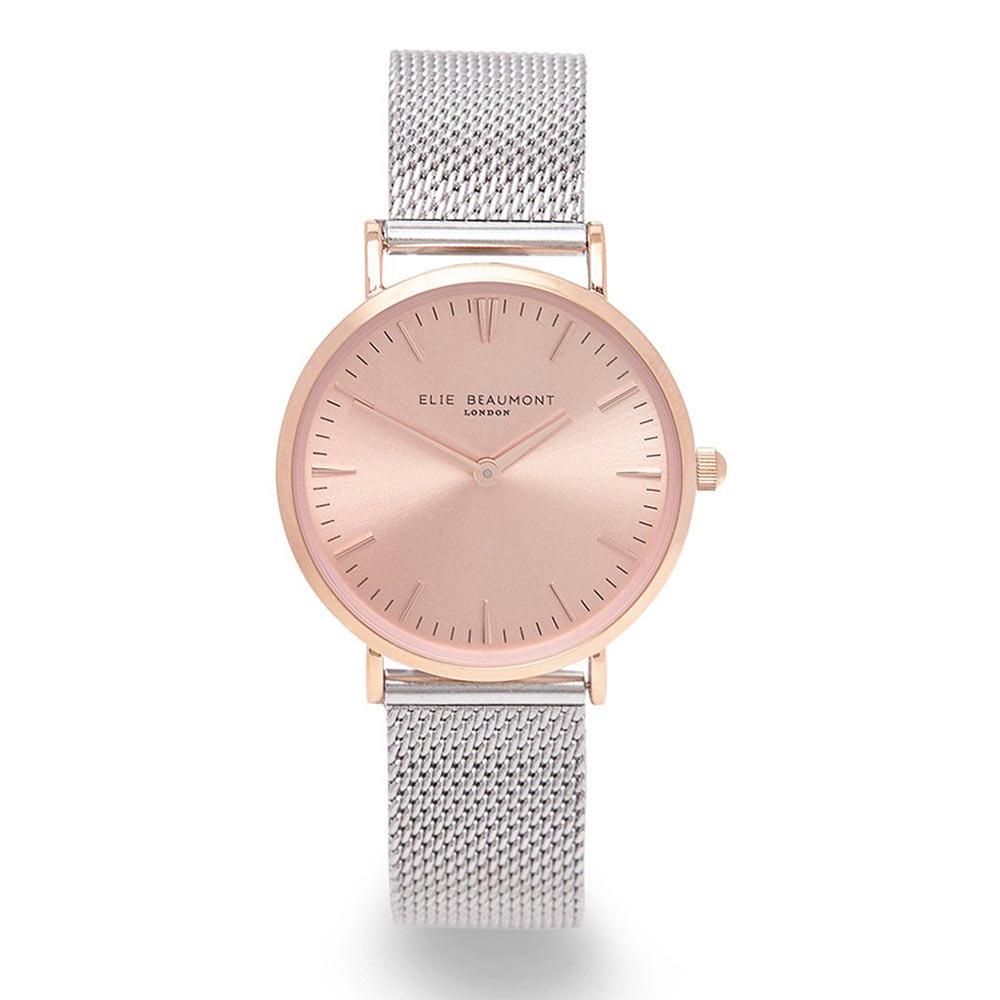 Elie Beaumont 英國時尚手錶 牛津米蘭錶帶系列 玫瑰金錶盤錶框x銀色錶帶33mm