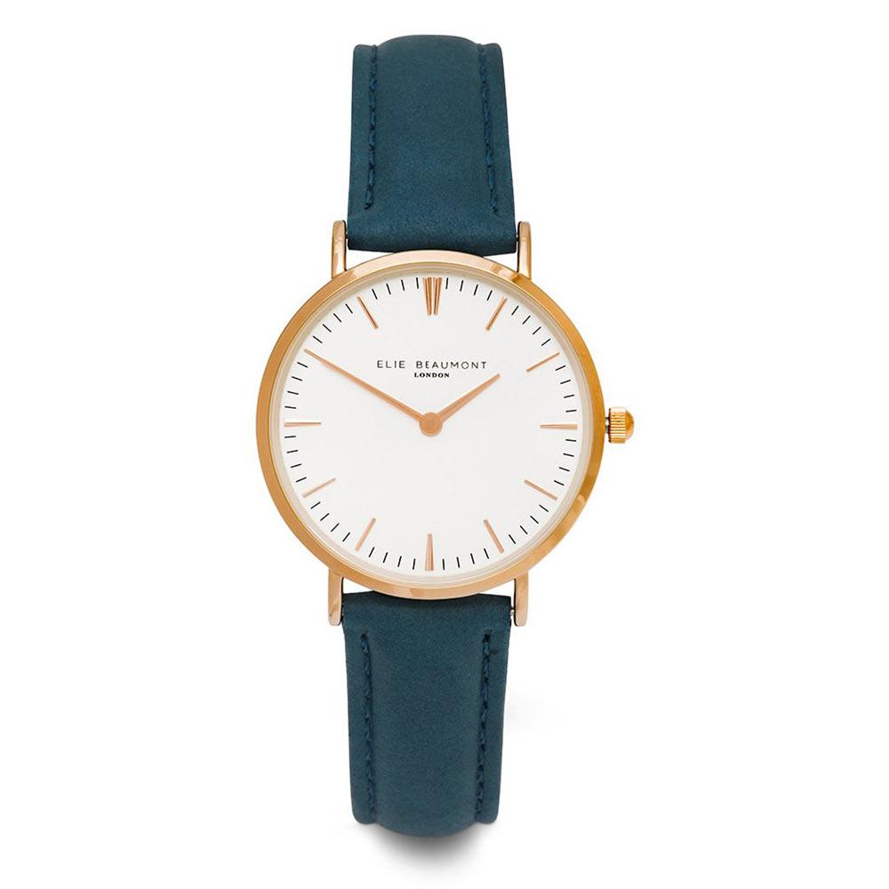 Elie Beaumont|英國時尚手錶 牛津系列 白錶盤x深藍皮革錶帶x玫瑰金錶框33mm