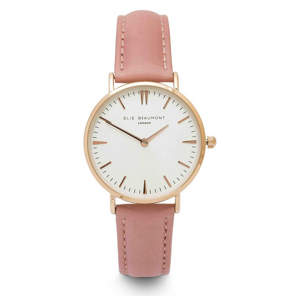 Elie Beaumont 英國時尚手錶 牛津系列 白錶盤x嫩粉皮革錶帶x玫瑰金錶框33mm
