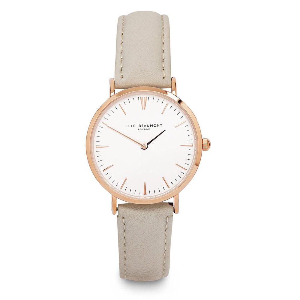 Elie Beaumont|英國時尚手錶 牛津系列 白錶盤x褐色皮革錶帶x玫瑰金錶框33mm