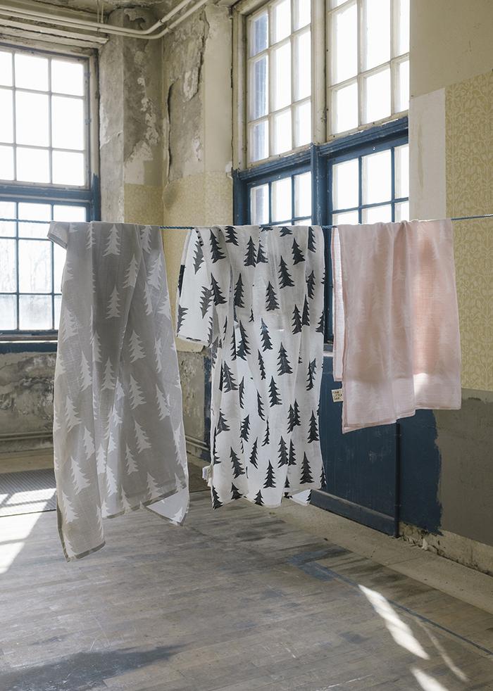 (複製)Fine Little Day|有機棉紗布包巾(森林 – 灰底) – GRAN MUSLIN BLANKET – Grey