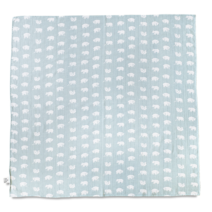 (複製)Fine Little Day|有機棉紗布包巾(小魚 – 深藍/白底) – Fish MUSLIN BLANKET