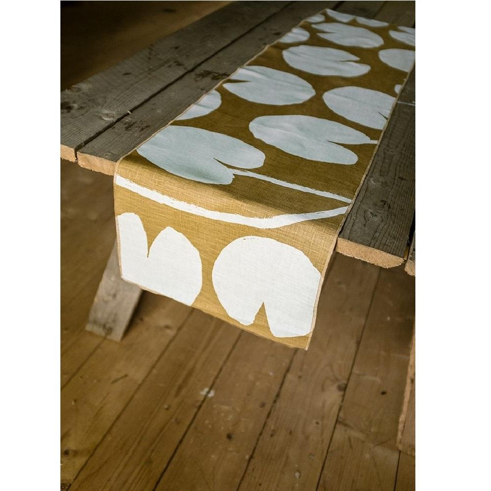 北歐風設計師款 – 荷花桌旗, 芥末黃 Water lilies Table Runner, Mustard