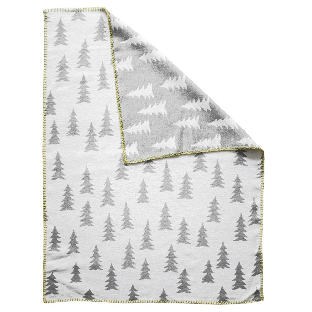 Fine Little Day|森林有機棉提花刷毛毯 (灰白 + 黃邊) – GRAN WOVEN CHILD BLANKET (grey / yellow edge)