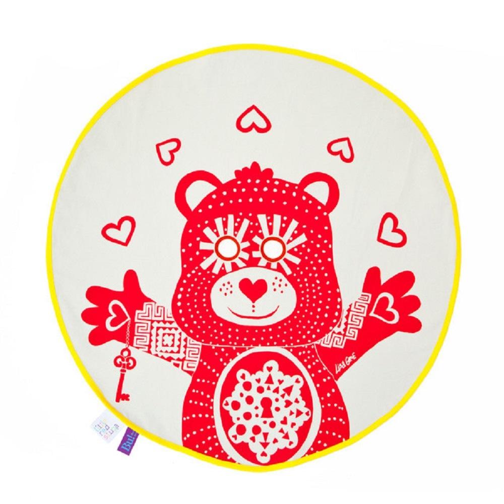 Fine Little Day|BU! BLANKIE 躲貓貓有機棉毯 – 泰迪熊紅(黃邊) Teddy Red / Yellow