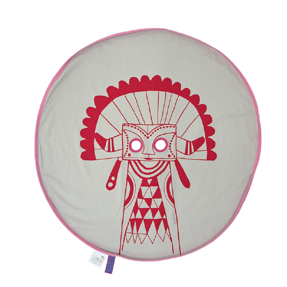 Fine Little Day  BU! BLANKIE 躲貓貓有機棉毯 – 印地安紅(粉邊) Indian Red/Pink