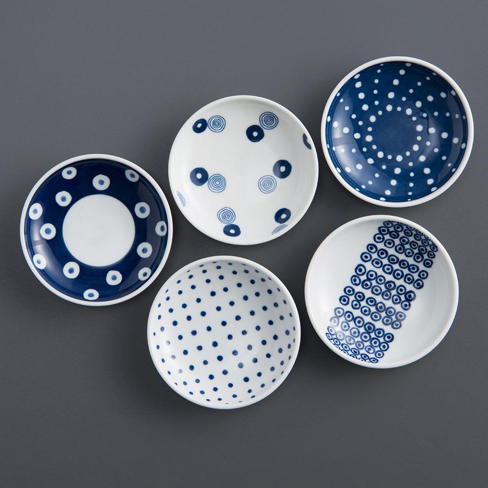 西海陶器|波佐見燒 藍丸紋五件式輕量壽司碟