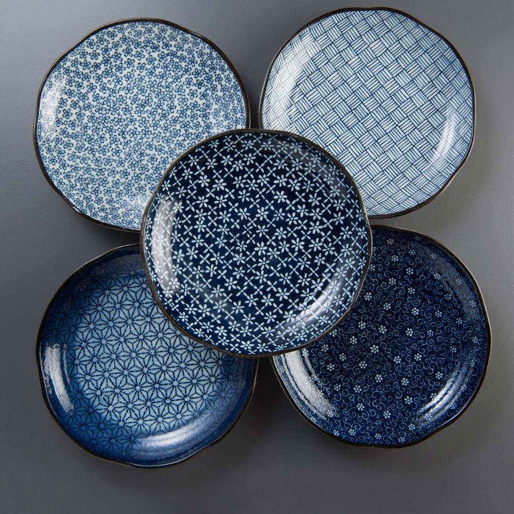 西海陶器|日本美濃燒 輕量雅菊五件式大圓盤禮盒組