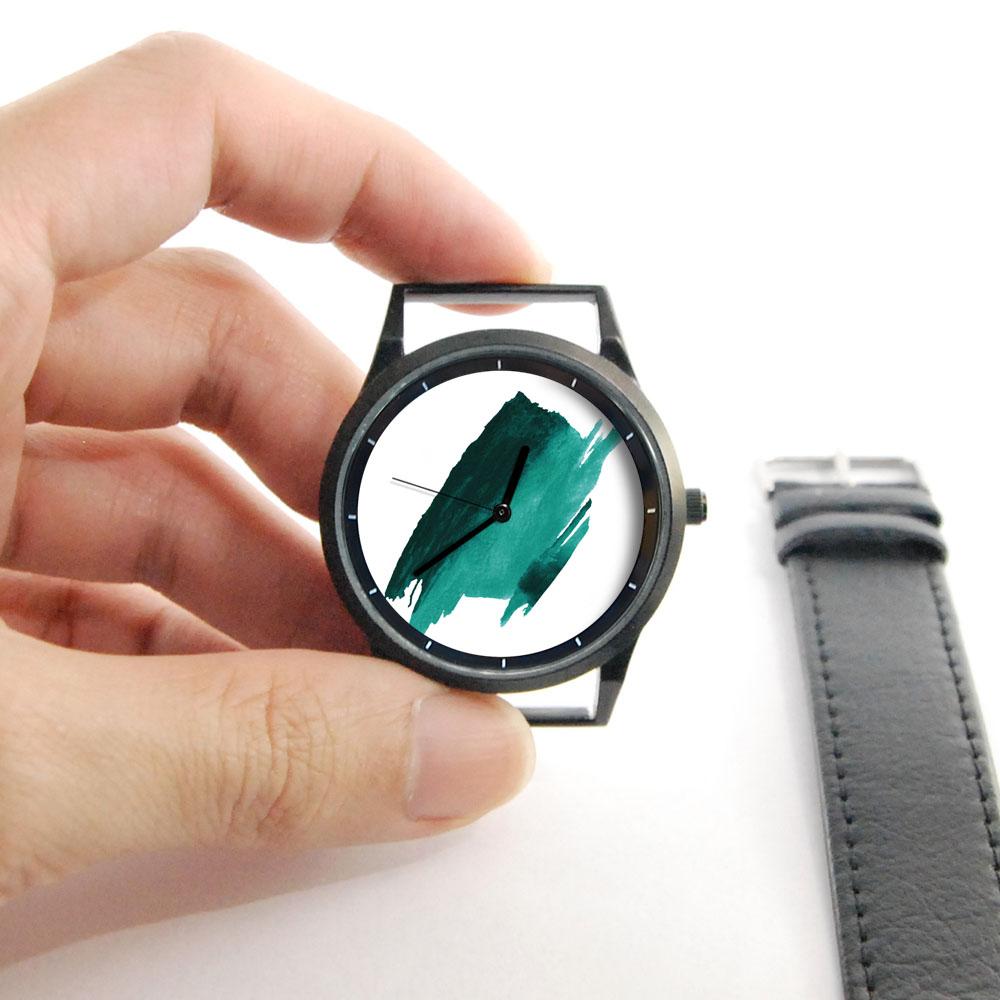 WenTi 插畫X手錶─時間印記(簡單綠)