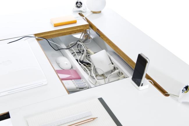 Bluelounge |多功能電線收納櫃式辦公桌書桌 StudioDesk 桃花心木桌腳(白)