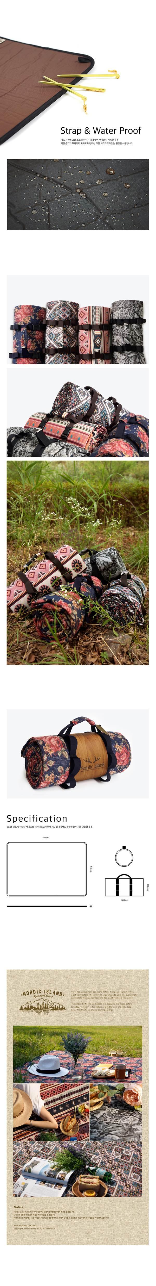 (複製)NORDIC ISLAND   Roll mat防水野餐墊 (Flower Gray)