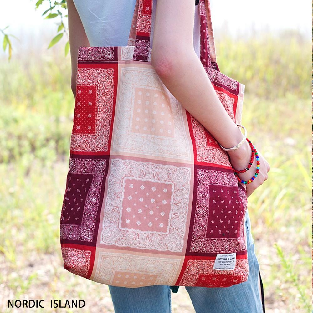 NORDIC ISLAND | 帆布購物袋-Checky Paisley (紅色)