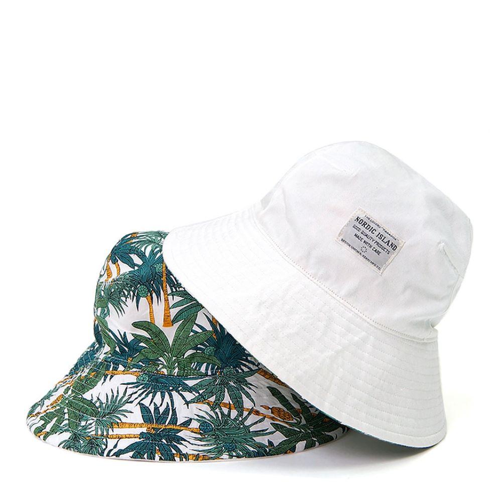 NORDIC ISLAND│雙色漁夫帽-棕櫚樹/白色