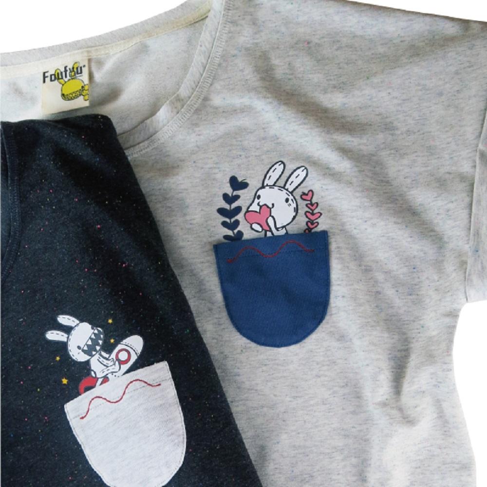 Foufou|12週年限定 島宇宙短版口袋TEE - 兔寶愛心