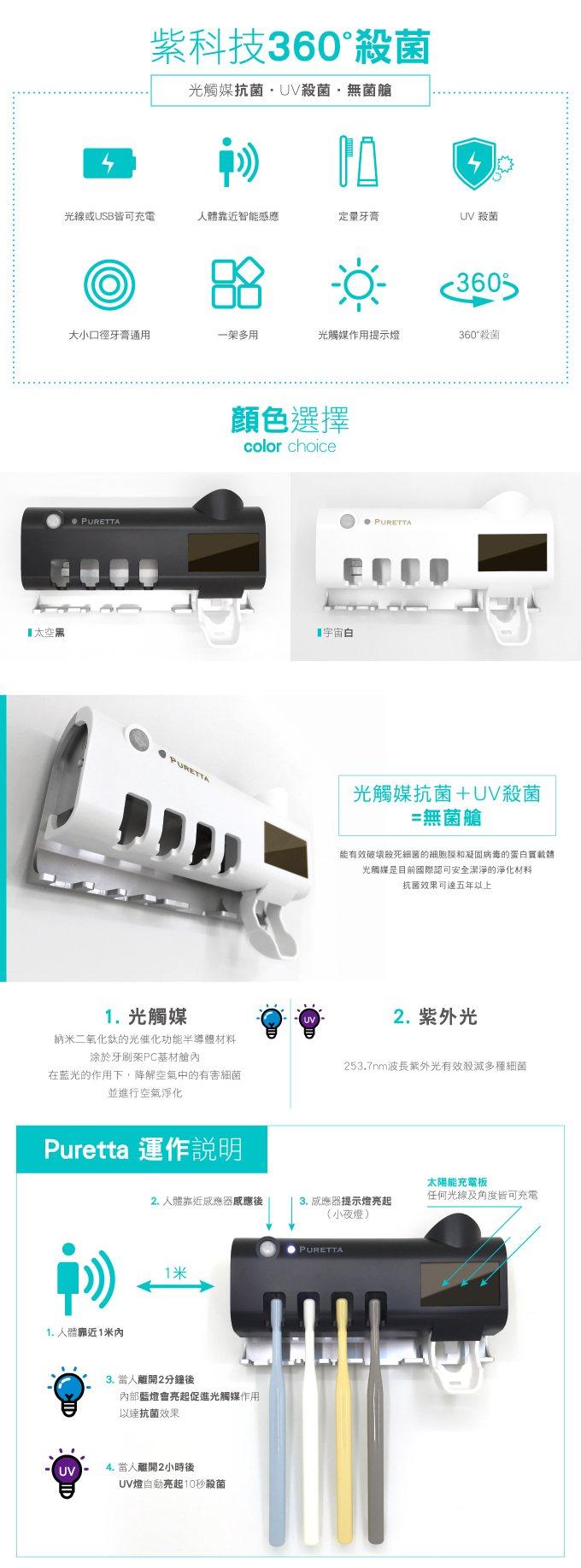 【集購】美國 PURETTA|360°全方位多功能紫外線滅菌 智慧型太陽能充電牙刷置物架(2色)
