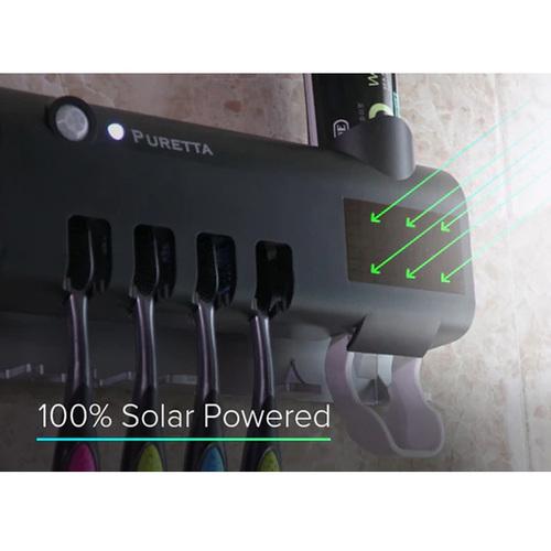 美國 PURETTA|360°全方位多功能紫外線滅菌牙刷架 - 太空黑