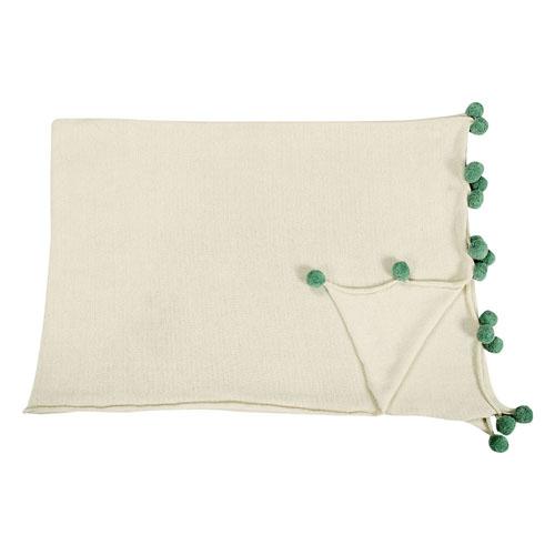 Lorena Canals 柔麗紡|pompom毛球自然風格萬用被毯(寧靜綠球)