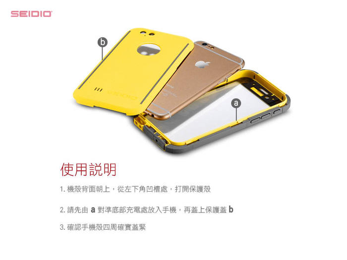 (複製)SEIDIO|極簡透明背蓋金屬手機框/保護框 for Apple iPhone 6/6s Plus-TETRA(玫瑰金)