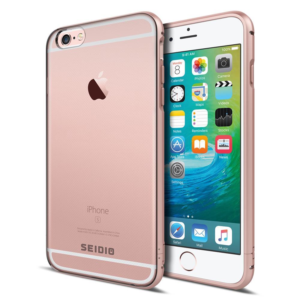 SEIDIO 極簡透明背蓋金屬手機框/保護框 for Apple iPhone 6/6s Plus-TETRA(玫瑰金)