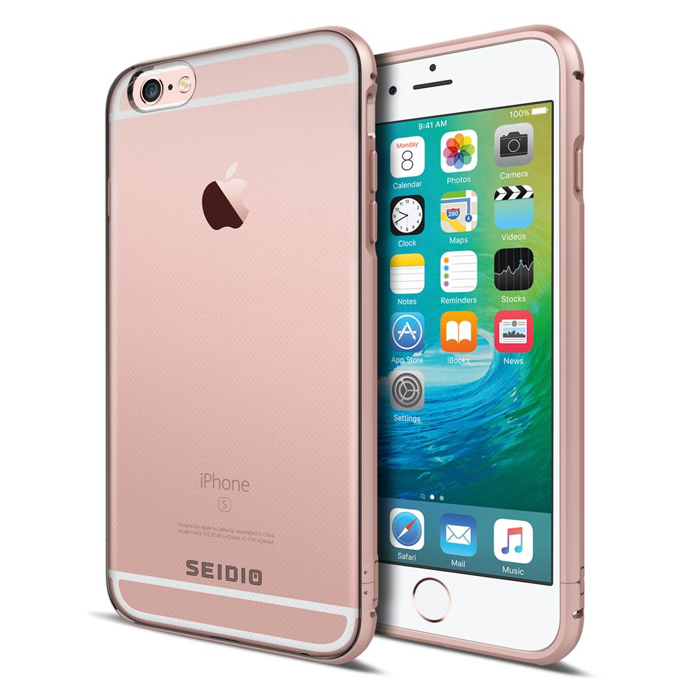 SEIDIO 極簡透明背蓋金屬手機框/保護框 for Apple iPhone 6/6s-TETRA(玫瑰金)