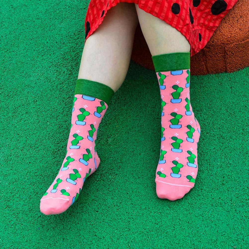 sokker®|桃粉仙掌4分之3襪