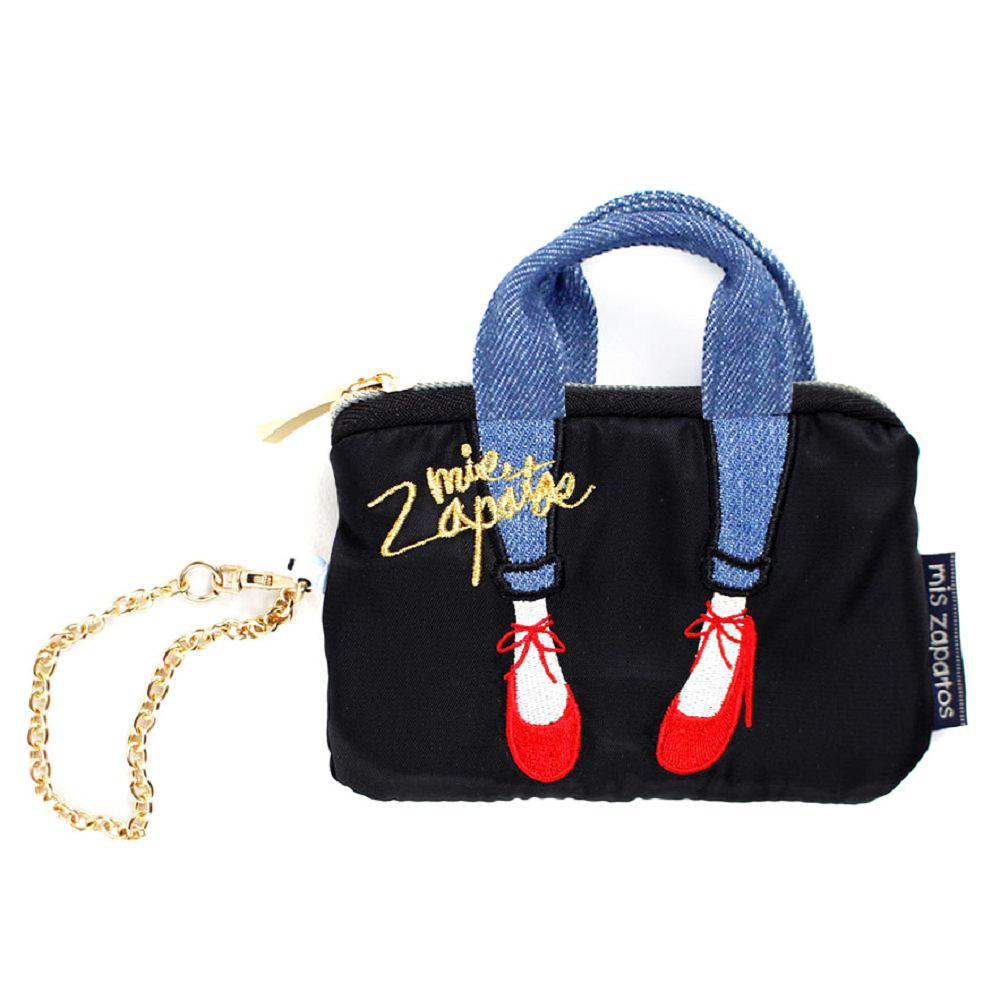 Mis Zapatos|skinny 蝴蝶結綁帶 迷你零錢鑰匙包 黑色