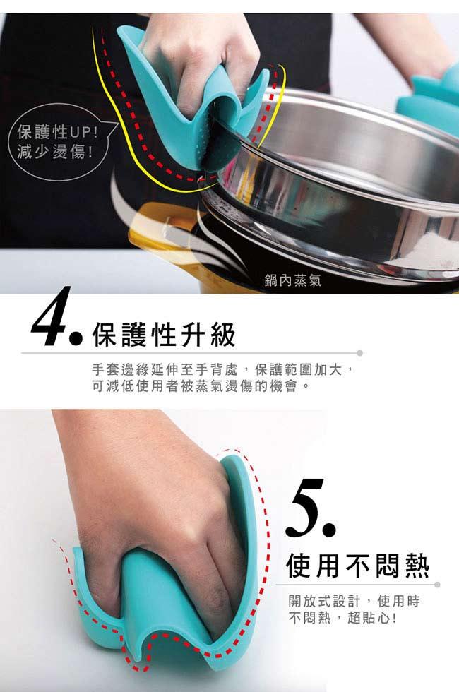 MULTEE摩堤 矽晶防燙小手套 G2_綠松藍