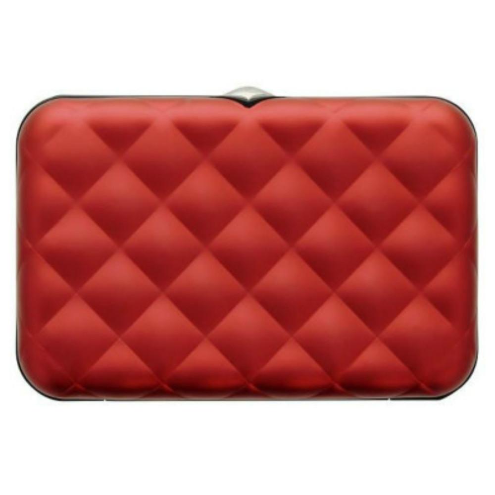 ÖGON|Quilted Button RFID安全防盜菱格紋卡匣(紅色)