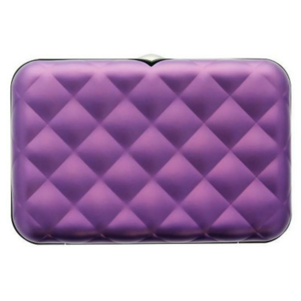 ÖGON Quilted Button RFID安全防盜菱格紋卡匣(紫色)