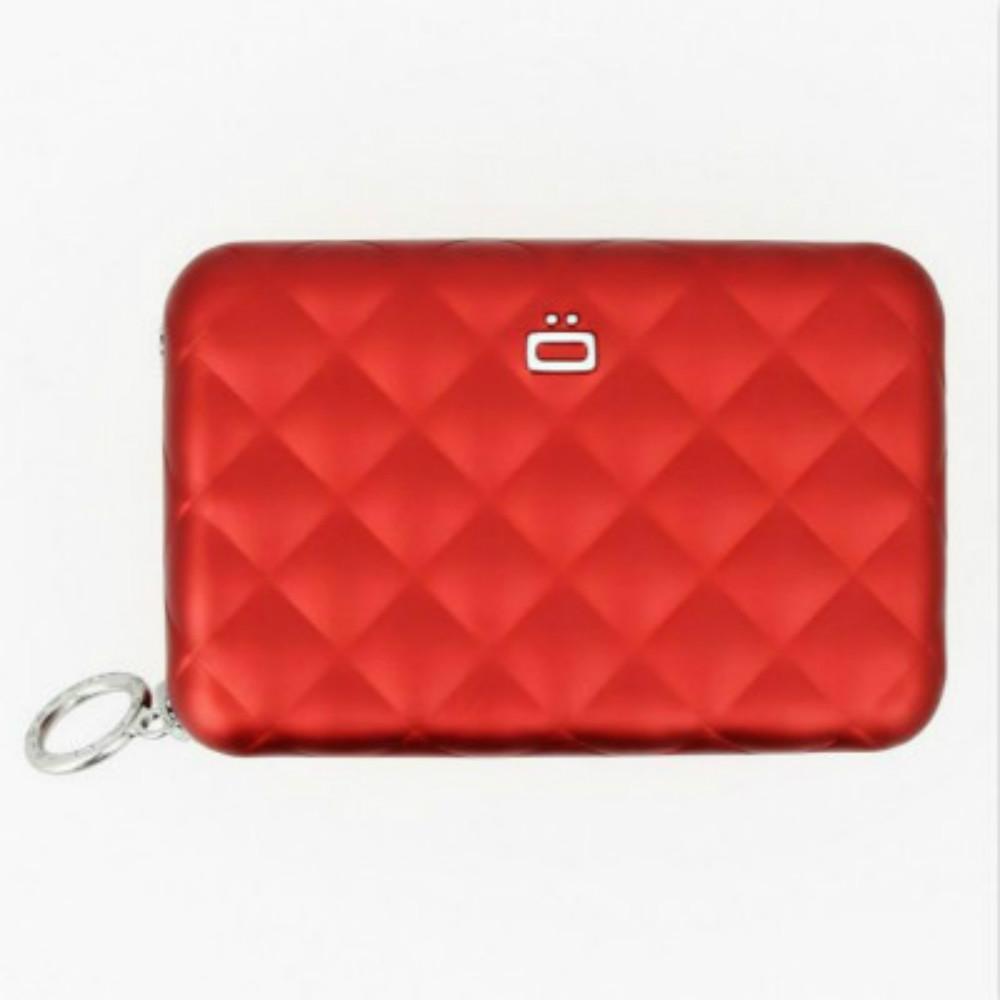 ÖGON|Quilted Zipper RFID安全防盜菱格紋拉鍊卡匣(紅色)
