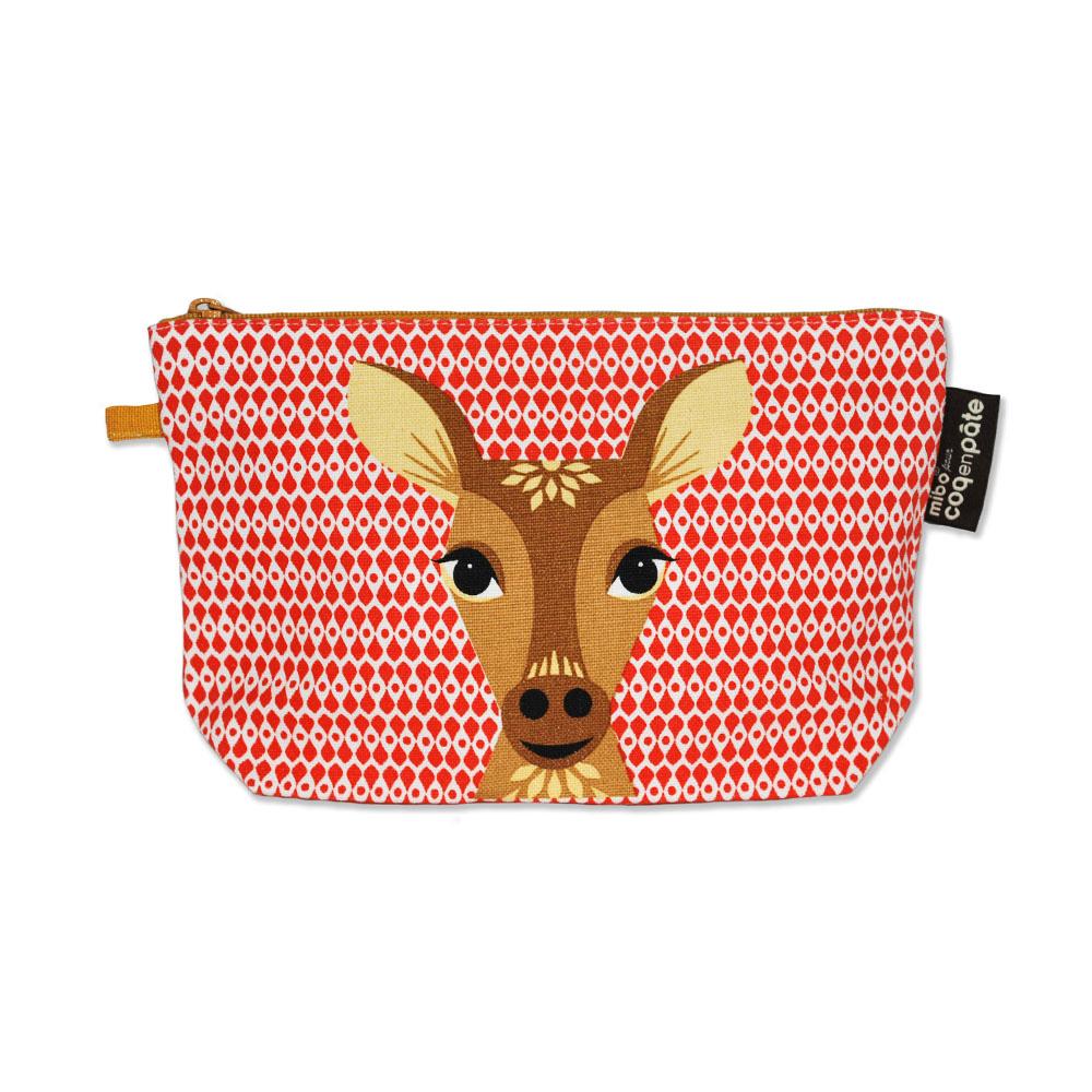 COQENPATE│法國有機棉無毒環保化妝包 / 筆袋- 畫筆兒的家 - 鹿