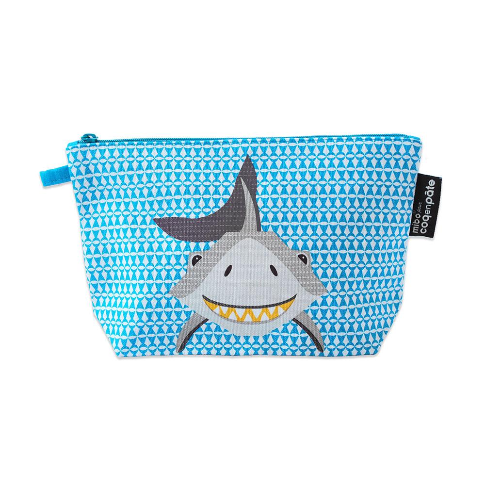 COQENPATE│法國有機棉無毒環保化妝包 / 筆袋- 畫筆兒的家 - 鯊魚
