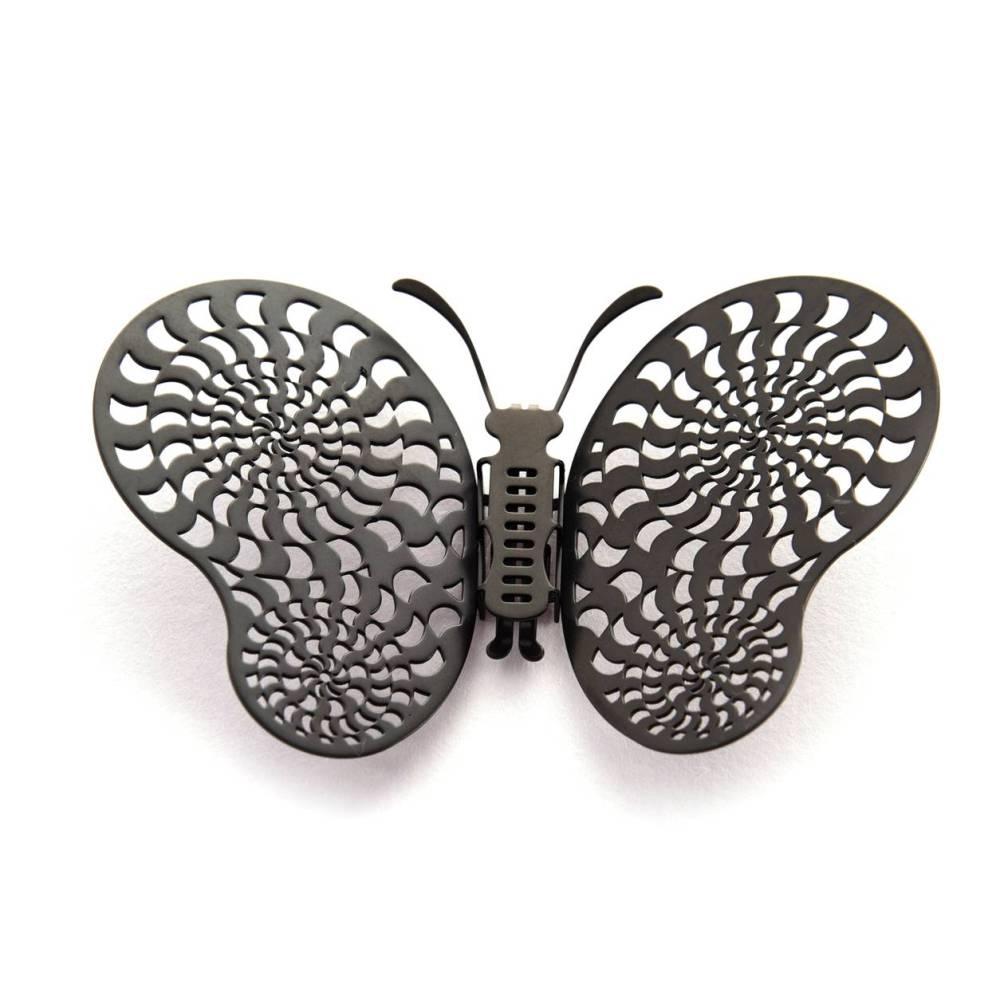 Magi-Steel 蝶@台灣 可換翅膀蝴蝶項鍊-似有若無系列–光圈(霧黑色)