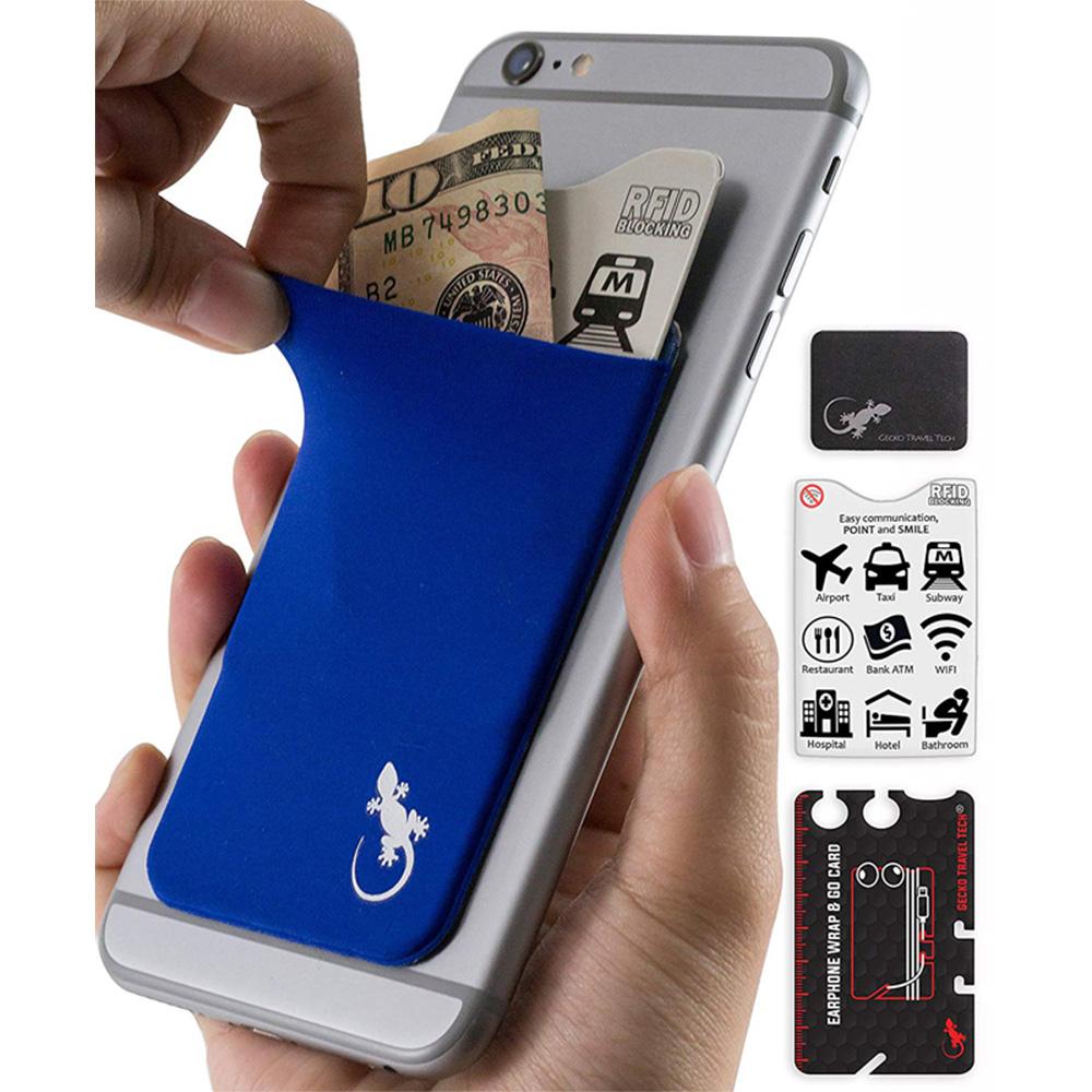 Gecko Travel Tech|防盜卡夾手機貼5件組-藍色